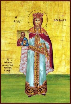Icono ortodoxo griego de Santa Teodora, emperatriz de Bizancio, portando un icono del Salvador.