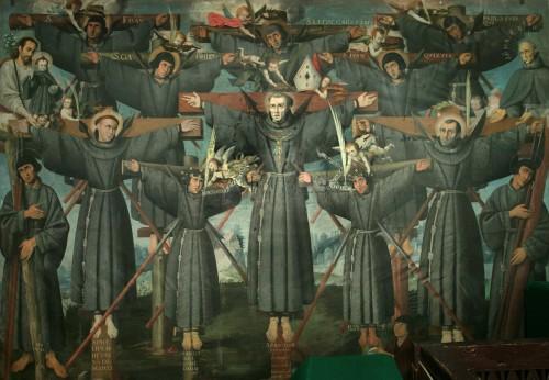 Fresco de los mártires de Nagasaki. Coro del templo de La Recoleta, Cuzco (Perú).