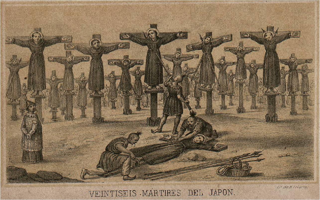 """Grabado de la obra de fray Agustín de Osimo """"Historia de los veinte y seis mártires japoneses, etc."""""""