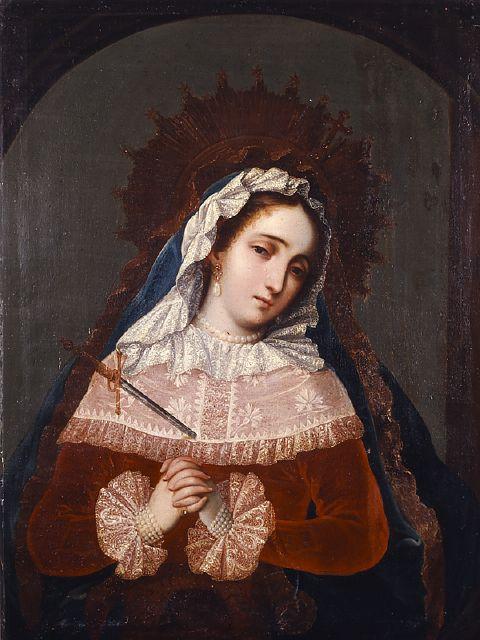 Nuestra Señora de los Dolores, óleo/tela, anónimo novohispano, siglo XVIII, en este cuadro se aprecia a la Virgendolorosa traspasada por unaespada en recuerdo de la profecía de Simeón.