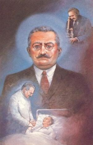 """San José Moscati, """"el médico santo"""". Lienzo contemporáneo."""