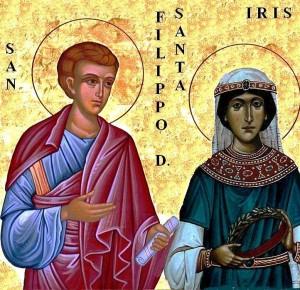 San Felipe el Diácono y su hija, Santa Iris. Icono confeccionado por Damiano Grenci a partir de otros dos iconos.
