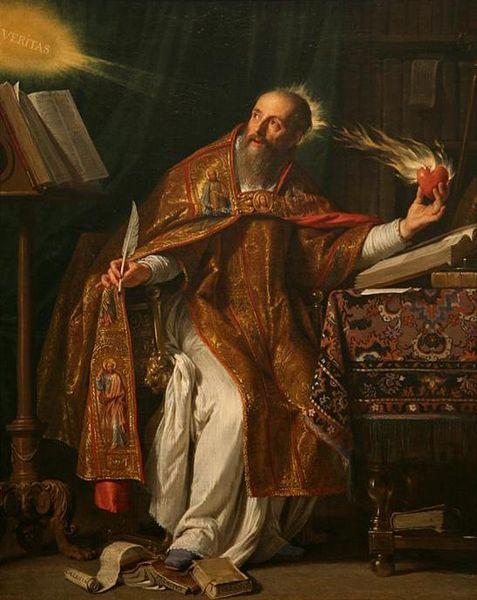 """""""San Agustín"""", lienzo barroco de Philippe de Champaigne, s.XVII. El corazón llameante es el símbolo del amor ardiente del Santo de Hipona."""
