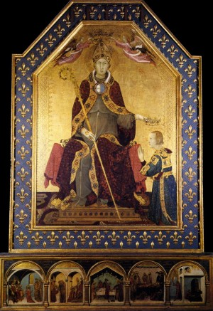 Tabla gótica de San Luis de Tolosa coronando a Roberto de Anjou, rey de Nápoles. Obra de Simone Martini (ca. 1317). Museo de Capodimonte, Nápoles (Italia).