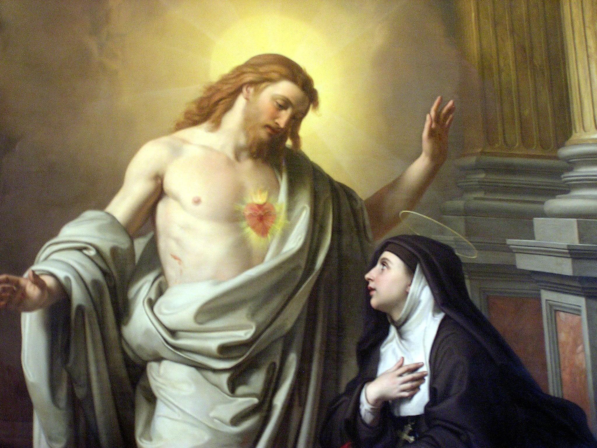 Aparición de Cristo a Santa Margarita María Alacoque. Lienzo del siglo XIX.