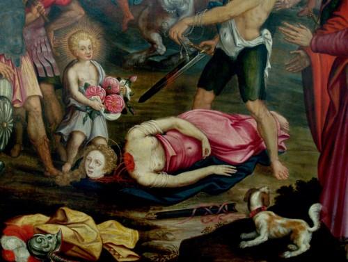 Detalle del martirio de Santa Dorotea, obra de Joost van Baren (1593). Iglesia de San Pedro de Leuven, Bélgica.