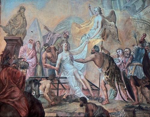 Martirio de la Santa, fresco de Franz Ludwig Hermann (1781). Parroquia de Santa Fe y San Marcos, Sölden, Breisgau (Alemania).