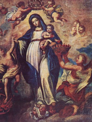 Lienzo de la Madre Santísima de la Luz, venerado en su basílica de León, Guanajuato (México).