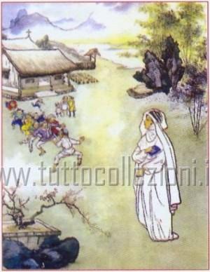 Ilustración de la Santa perteneciente a una serie de estampas devocionales italianas. Fuente: www.tuttocollezioni.it.