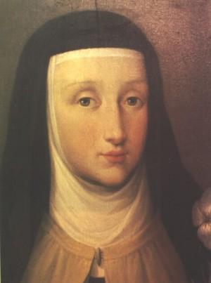 Detalle del rostro de la Santa en un óleo realizado post-mortem por la pintora Anna Bacherini Piattoli (1720-1788). Monasterio carmelita de Florencia, Italia.