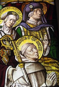 Vitral de Santa Aleth y San Tescelín ofreciendo a su hijo San Bernardo. Abadia de Mariawald, Alemania. S. XVI