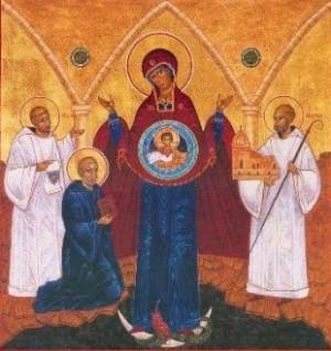 Icono de la Madre de Dios del Signo con los fundadores de Citeaux los Santos Roberto de Moles, Alberico y Esteban Harding.