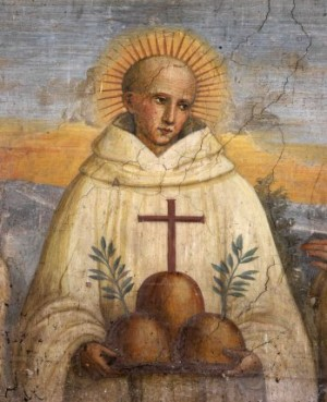 San Bernardo Tolomeo. Fresco del s. XV de, en Monte Oliveto, Italia. Benedicto XVI sanciono su culto canonizándolo el 21 de febrero de 2009.