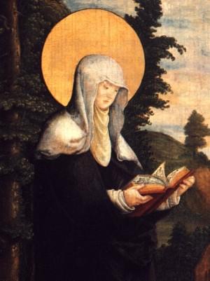 Santa Walburga Abadesa. Tabla del maestro de Messkirch.