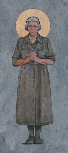 Dorothy Day, Obl. OSB. Periodista y activista católica norteamericana del siglo XX. La imagen corresponde a una serie de tapices en St. Sthepen the Deacon Parish en El Paso, Texas. La aureola es incorrecta en esta imagen porque no está formalmente beatificada.