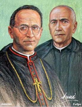 Estampa contemporánea de los dos Beatos, a partir de una ilustración.