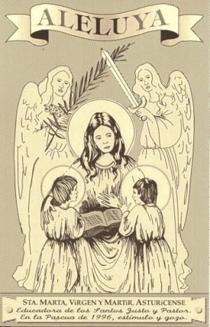 """""""Aleluya"""" (estampa) de la Santa con los Santos Justo y Pastor, editada para la Pascua de 1996. Parroquia de la Santa en Astorga, España."""