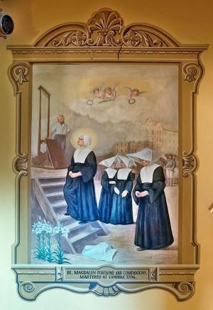 Martirio de las Hijas de la Caridad de Cambrai. Mural de la iglesia de Santa María de Barrens, en Perryville, Missouri, Estados Unidos.