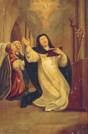 Lienzo anónimo de Santa Aldegunda, abadesa, en su iglesia de Villenoy, Francia.