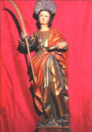 Imagen de la Santa, talla en madera policromada de Lucas Gutiérrez (1668). Parroquia de la Santa, Astorga (España).