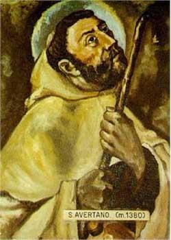 Ilustración contemporánea de San Avertano, en su hábito de carmelita y portando el bastón de peregrino.
