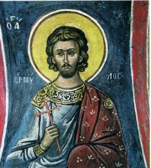 Detalle de San Ermilio en un fresco ortodoxo griego.