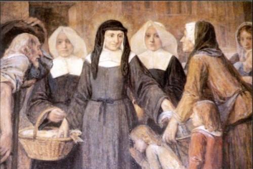 La Santa, con las Hijas de la Caridad, atendiendo a los pobres. Detalle de un lienzo decimonónico.