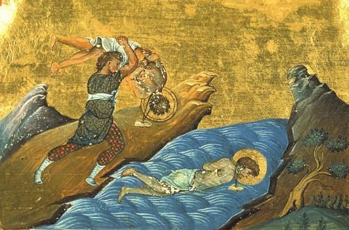 Martirio de los Santos. Iluminación del Menologio de Basilio II. Biblioteca Apostolica Vaticana, Roma.