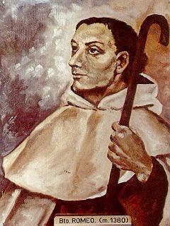 Ilustración contemporánea del Beato Romeo de Lucca, en su atuendo de carmelita y báculo de peregrino.