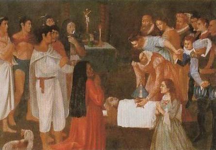 Pintura del primer milagro de la imagen: la resurrección de la niña saltimbanqui,