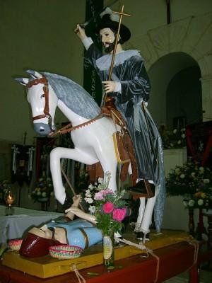 Imagen de Santiago apóstol venerada en el pueblo de Halachó, Yucatán, México.