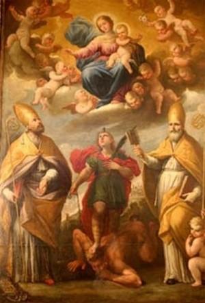 San Potito sometiendo al demonio, es franqueado por los Santos Obispos León y Blás.