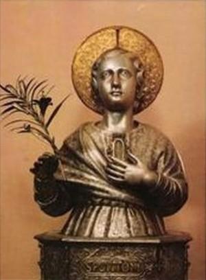 Herma de plata con reliquia de San Potito, conservada en la Catedral de Ascoli Piceno.