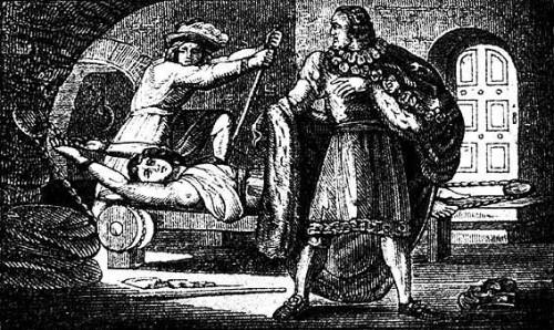 Anne Askew torturada en el potro. Grabado decimonónico.