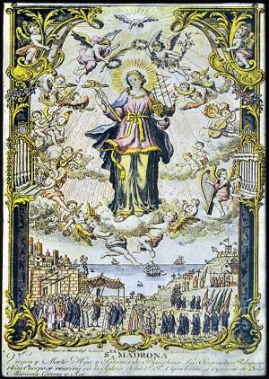 Grabado coloreado de la Santa como patrona de Barcelona. Fuente: Arxiu dels Caputxins de Catalunya i Balears.