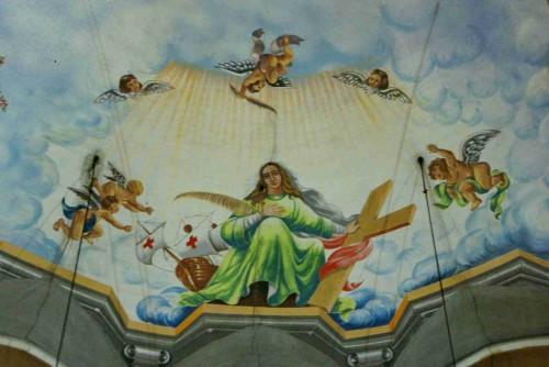 Detalle de la Santa en las pinturas del ábside de su parroquia en Barcelona, España. Fotografía: José Mª Ramón.