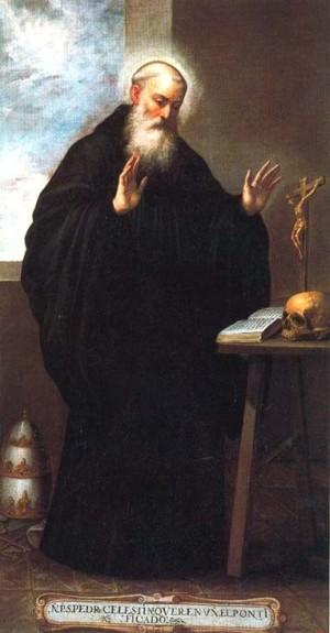 Óleo de San Celestino V, papa. Obra de Bartolomeo Romano (1637-41). Museo Nacional del Prado, Madrid (España).