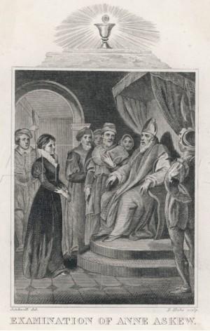 Interrogatorio de Anne Askew ante el obispo Stephen Gardiner. Grabado decimonónico.