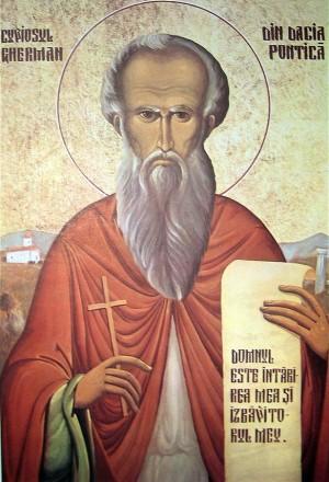 Icono ortodoxo rumano de San Germán.