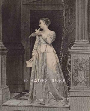 Grabado decimonónico de Anne Askew por los Illman Brothers, representándola como una dama victoriana romántica. Copyright: Hades Muse.