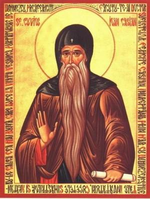 Icono ortodoxo rumano de San Juan Casiano.