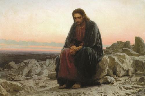 """""""Cristo en el desierto"""", óleo de Ivan Kramskoi (1872). Galería Tretyakov, Moscú (Rusia)."""