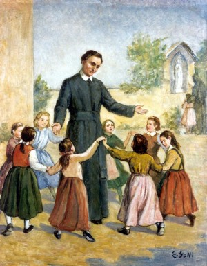 El Santo, padre de huérfanas. Lienzo contemporáneo de E. Galli.