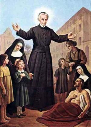 El Santo, padre de huérfanos y enfermos. Estampa devocional italiana.