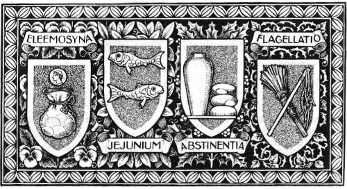 Preceptos de la Cuaresma: limosna, ayuno, abstinencia y penitencia. Grabado del s.XIX para una Biblia católica.