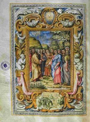 Cristo y los apóstoles, de Francesco Grigiotti. Página del Misal de Cuaresma y Semana Santa del Papa Urbano VIII (1635). Biblioteca Nacional de España. Fuente: http://www.bne.es/