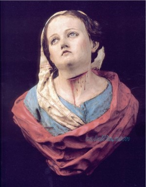 Busto de Santa no identificado, obra del escultor murciano Francisco Salzillo. La garganta seccionada es un indicador de martirio.