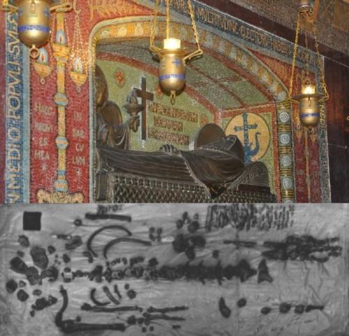 Imagen yacente de San Benito en las criptas de Montecasino y fotografía de las reliquias italianas tras su reconocimiento en los años 50´s.