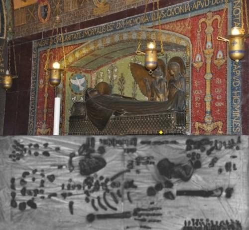 Imagen yaciente de Santa Escolástica en las criptas de Montecasino y fotografía de las reliquias italianas tras su reconocimiento en los años 50´s.