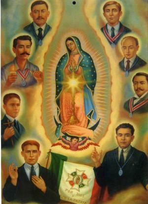 Beatos Anacleto González y compañeros, mártires mexicanos, con la Virgen de Guadalupe.